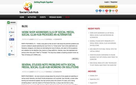 Screenshot of Blog socialclubhub.com - Social Club Hub - Social, sports and activity clubs - captured Oct. 26, 2014