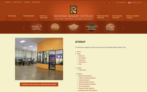 Screenshot of Site Map Page readingbakery.com - Sitemap - Reading Bakery Systems - captured Nov. 2, 2017