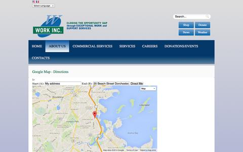 Screenshot of Maps & Directions Page workinc.org - Directions - captured Oct. 26, 2014
