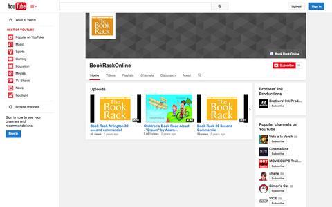 Screenshot of YouTube Page youtube.com - BookRackOnline  - YouTube - captured Oct. 23, 2014