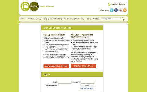 Screenshot of Signup Page yougen.co.uk - Login | YouGen, Renewable Energy Made Easy - captured Sept. 23, 2014