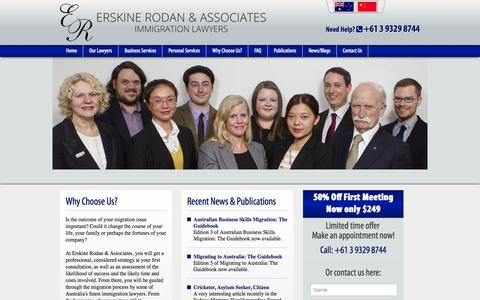 Screenshot of Home Page erskinerodan.com.au - Immigration Lawyers MelbourneErskine Rodan and Associates. | Immigration Lawyers Melbourne - captured June 19, 2015