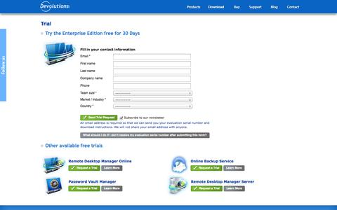 Screenshot of Trial Page remotedesktopmanager.com - Trial - Remote Desktop Manager - captured Nov. 2, 2014