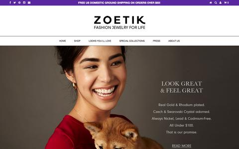 Screenshot of Home Page zoetik.com - ZOETIK - captured Jan. 26, 2015