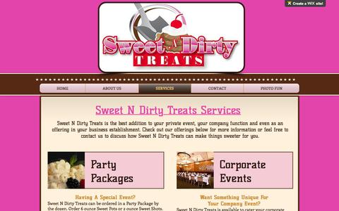 Screenshot of Services Page sweetndirtytreats.com - sndthtml | SERVICES - captured Dec. 6, 2016