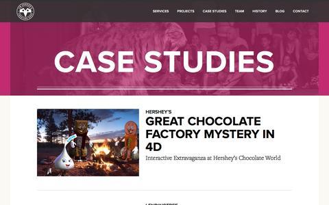 Screenshot of Case Studies Page creatureshop.com - Case Studies - Jim Henson's Creature Shop - captured July 5, 2017