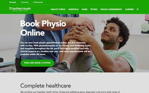 Screenshot of Home Page nuffieldhealth.com - Private Hospitals, Gyms, Corporate Fitness | Nuffield Health - captured Aug. 14, 2016