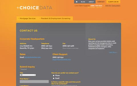 Screenshot of Contact Page choicedata.com - Contact Us - Credit Reports, Tenant Screening Tennessee | ChoiceDATA - captured Oct. 2, 2014
