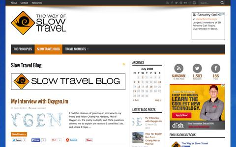 Screenshot of Blog thewayofslowtravel.com - Slow Travel Blog - captured Sept. 19, 2014