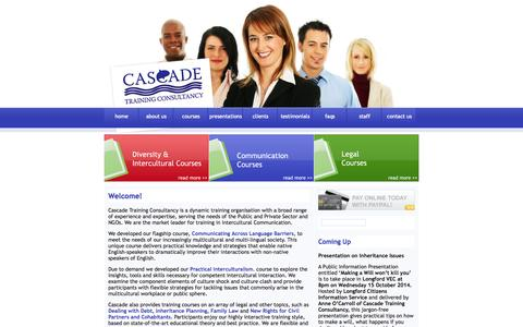Screenshot of Home Page cascadetrainingconsultancy.com - Cascade Training Consultancy Ireland - Educational Courses on Communication,Law, Management - captured Sept. 29, 2014