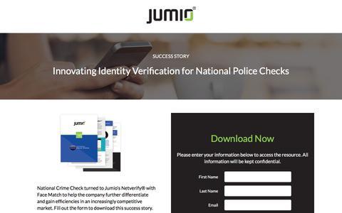 Screenshot of Landing Page jumio.com - Success Story:  Innovating Identity Verification for National Police Checks - captured May 5, 2018