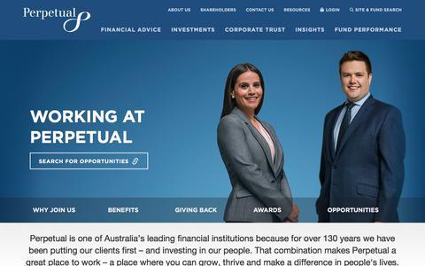 Screenshot of Jobs Page perpetual.com.au - Working at Perpetual   Perpetual - captured Sept. 26, 2018