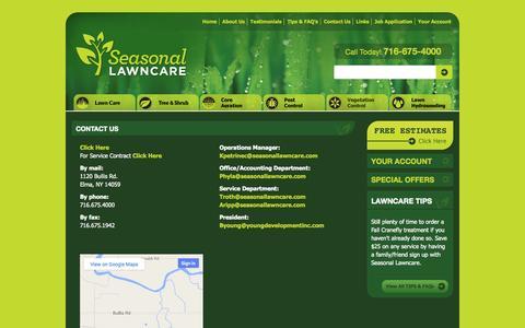 Screenshot of Contact Page seasonallawncare.com - Contact Us | Seasonal LawncareSeasonal Lawncare - captured Sept. 30, 2014