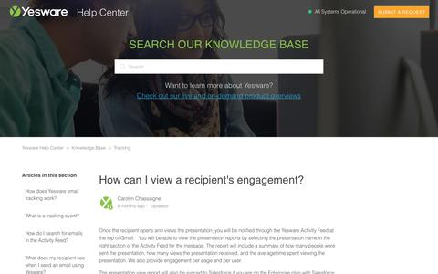 Screenshot of Support Page yesware.com - How can I view a recipient's engagement? – Yesware Help Center - captured July 12, 2019
