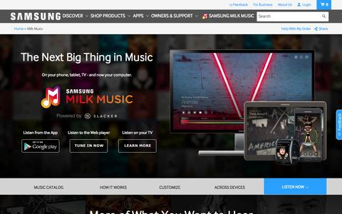 Screenshot of Home Page samsung.com - Milk Music: The Next Big Thing in Music | Samsung - captured Sept. 11, 2015