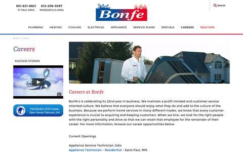 Screenshot of Jobs Page bonfe.com - Bonfe Careers & Jobs | Plumbing, Heating, Appliance, Electrical | Minnesota - captured Jan. 16, 2016