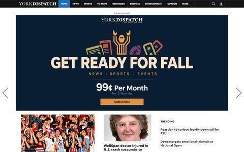 Screenshot of Home Page yorkdispatch.com - York Breaking News, Sports, Weather, Traffic - York Dispatch - captured Oct. 2, 2018