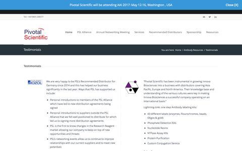 Screenshot of Testimonials Page pivotalscientific.com - Pivotal Scientific |   Testimonials - captured May 18, 2017