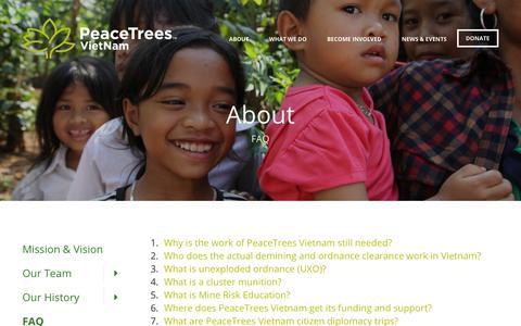 Screenshot of FAQ Page peacetreesvietnam.org - PeaceTrees Vietnam : About : FAQ - captured July 16, 2018