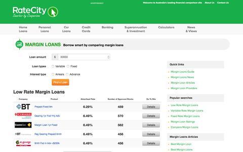 Margin Loans | Compare interest rates | RateCity.com.au