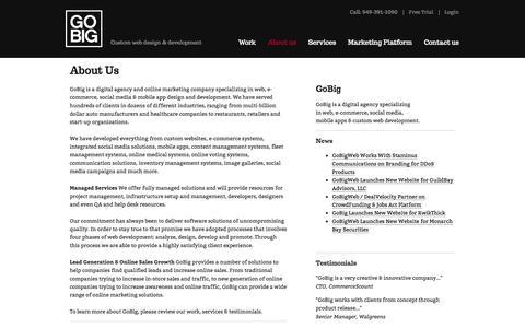 Screenshot of About Page gobigweb.com - About Us | GoBig - captured Sept. 26, 2014