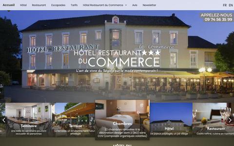 Screenshot of Home Page hotel-commerce-aveyron.com - Hôtel 3 étoiles, Aveyron, Albi, Rodez - HOTEL DU COMMERCE - captured Oct. 29, 2018