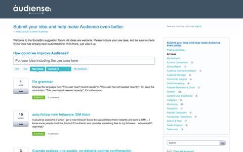 Submit your idea and help make Audiense even better.: started (5 ideas) – Help us build a better Audiense