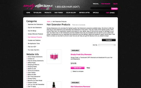 Screenshot of Products Page simplyextensions.com - Hair Extension Products - Simply Extensions - captured Nov. 2, 2014