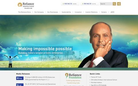 Screenshot of Home Page ril.com - Reliance Industries Limited – Retail Markets | Telecom | Petroleum Refining & Marketing | Petrochemicals | Hydrocarbon Exploration & Production | Jio 4G | Reliance Shares - captured Oct. 1, 2015