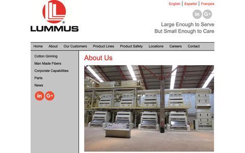 Screenshot of Home Page lummus.com - Lummus Corporation - Lummus Corporation - captured Feb. 20, 2019