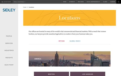 Screenshot of Locations Page sidley.com - Locations | Sidley Austin LLP - captured July 19, 2017