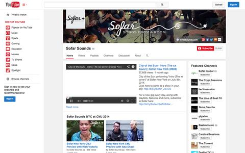 Screenshot of YouTube Page youtube.com - Sofar Sounds  - YouTube - captured Oct. 26, 2014