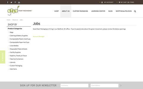 Screenshot of Jobs Page goodstartpackaging.com - Jobs at Good Start Packaging - captured July 16, 2016