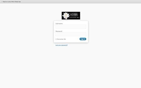 Screenshot of Login Page lotusmb.com - Lotus Mind+Body Spa › Log In - captured Sept. 23, 2014