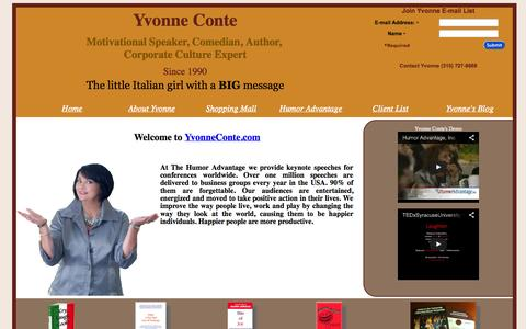 Screenshot of Home Page yvonneconte.com - Humorist Motivational Speaker Yvonne Conte Comedian, Author - Humor Advantage - captured Oct. 3, 2014