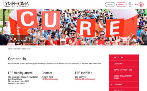 Screenshot of Contact Page lymphoma.org - Contact Us - Lymphoma Research Foundation - captured Sept. 30, 2018