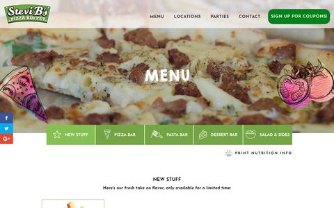 Screenshot of Menu Page stevibs.com - Menu - Stevi B's Pizza Buffet - captured Oct. 18, 2018