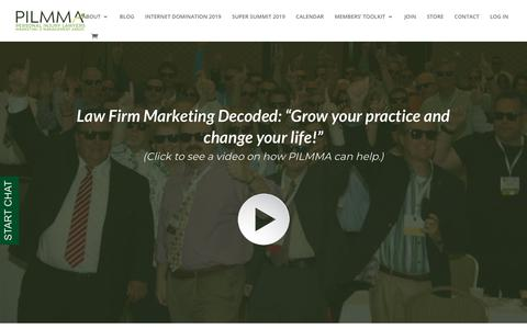 Screenshot of Home Page pilmma.org - Law Firm Marketing Ideas and Strategies for Injury Lawyers | PILMMA - captured July 8, 2019