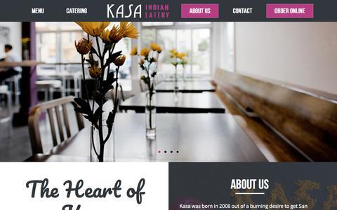 Screenshot of About Page kasaindian.com - The Heart of Kasa - KASA Indian Eatery - captured Oct. 17, 2017