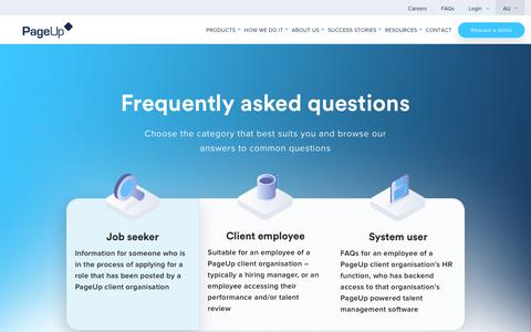 Screenshot of FAQ Page pageuppeople.com - Frequently Asked Questions - PageUp - captured Dec. 27, 2018