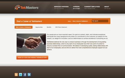 Screenshot of Jobs Page tekmasters.com - Start a Career at TekMasters! –  Tekmasters – Mastering the Art of Technology - captured Oct. 20, 2018