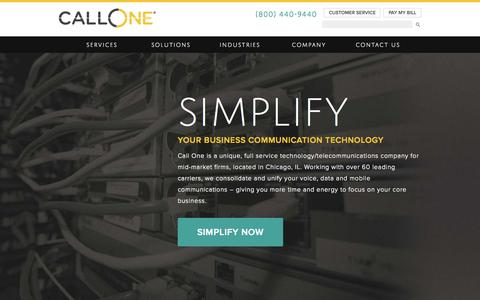 Screenshot of Home Page callone.com - Chicago VoIP Service Provider for Small to Mid-Size Companies - captured Sept. 4, 2015