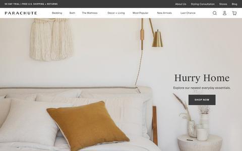 Screenshot of Home Page parachutehome.com - Parachute – Home happens here. Bedding, bath linens, decor and more.                              – Parachute Home - captured Oct. 30, 2019