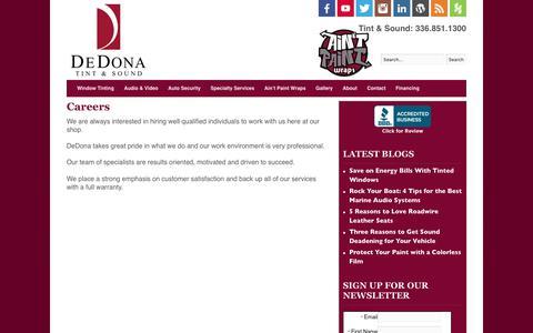 Screenshot of Jobs Page dedona.com - Careers   DeDona - captured Oct. 12, 2017
