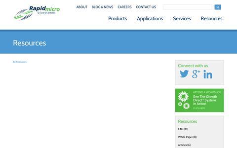Screenshot of Case Studies Page rapidmicrobio.com - Resources - captured Sept. 11, 2014