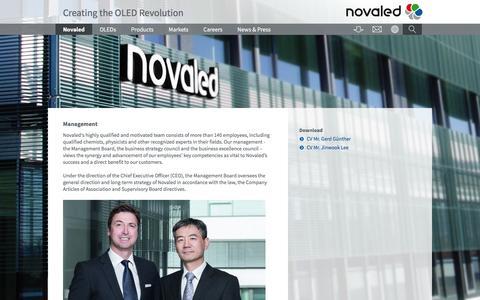 Screenshot of Team Page novaled.com - Management - NOVALED | Creating the OLED Revolution - captured July 3, 2016
