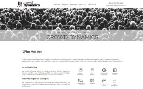 Screenshot of Home Page crowddynamics.com - Crowd Dynamics | Crowd Modelling | Crowd Management Consultants - captured Sept. 30, 2018