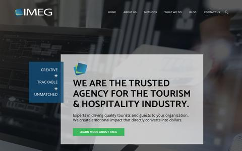 Screenshot of Home Page imegonline.com - IMEG - The Trusted Agency for the Tourism & Hospitality Industry - captured Nov. 22, 2018