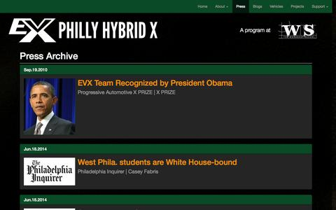 Screenshot of Press Page evxteam.org - Press Archive - Philly Hybrid X - captured Oct. 1, 2014