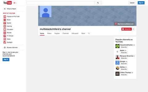 Screenshot of YouTube Page youtube.com - multistackchillers's channel  - YouTube - captured Oct. 26, 2014
